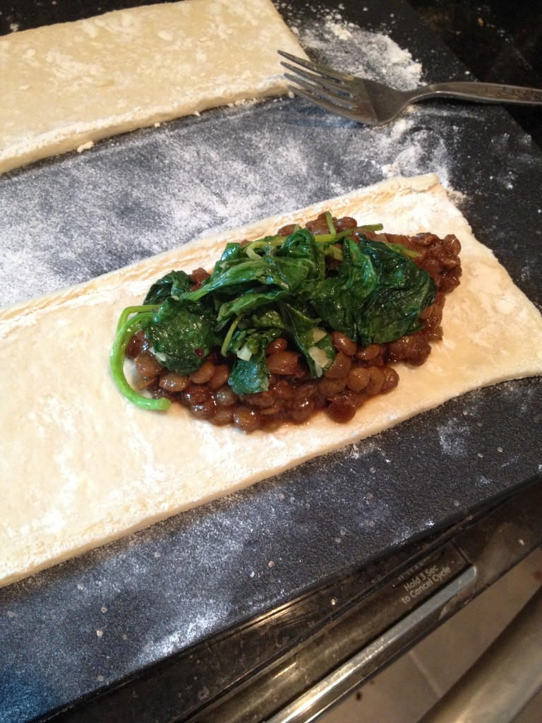 Lentil Chili with Garlicky Greens Puff Pastry Pocket www.good-good-things.com
